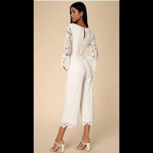 Amoureux White Lace Flounce Sleeve Jumpsuit